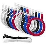 """Multicavo SLIM FLAT 1m Cat6 RJ45 cavo Patch Rete Ethernet Lan - """"Confezione da 5"""" Multi Colore - 1 metro ..."""