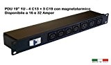 "PDU 1U 19"" - 3 C19 + 4 C13 con MAGNETOTERMICO - 32Amper 230V Power Distribution Unit"