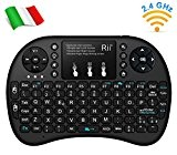 Rii Mini i8+ Wireless (layout ITALIANO) - Mini tastiera retroilluminata con mouse touchpad per Smart TV, Mini PC, HTPC, Console, ...
