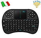 Rii Mini i8 Wireless (layout ITALIANO) - Mini tastiera wireless ergonomica con mouse touchpad per Smart TV, Mini PC, HTPC, ...