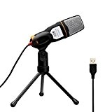 Tonor Microfono USB Audio Con Supporto da Tavolo Per Skype PC Mac Laptop Chiacchiera Canto Karaoke Nero