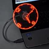 TRIXES Ventilatore flessibile USB da tavolo con orologio