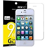 Vetro Temperato iPhone 4S / 4, NEWC® **Easy-Install Kit** [Anti-riflesso Ultra-Clear] Ultra resistente in Pellicola Protettiva vetro temperato iPhone 4S ...